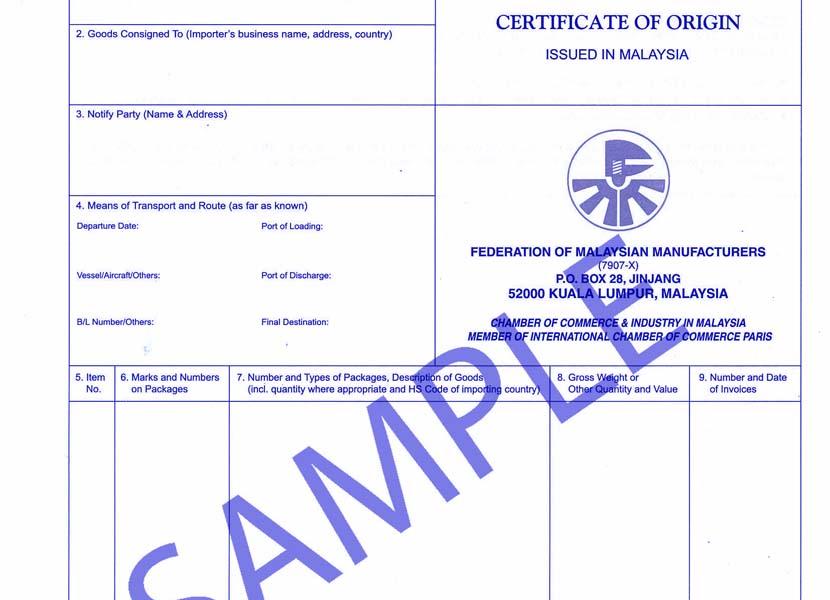 Certificate Of Origin Untuk Bebas Bea Masuk Hsh Jasa Import Export
